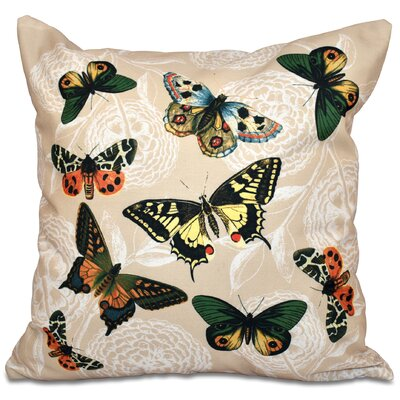 Botanical Blooms Bird Watch Animal Print Outdoor Throw Pillow Size: 18