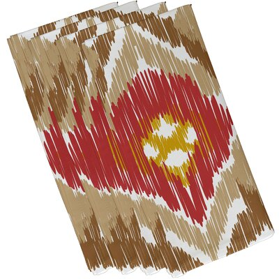 Oliver Original Geometric Print Napkin Color: Taupe/Coral