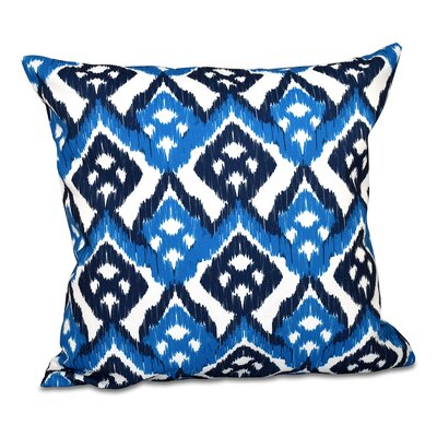 Sabrina Geometric Outdoor Throw Pillow Size: 18 H x 18 W, Color: Blue