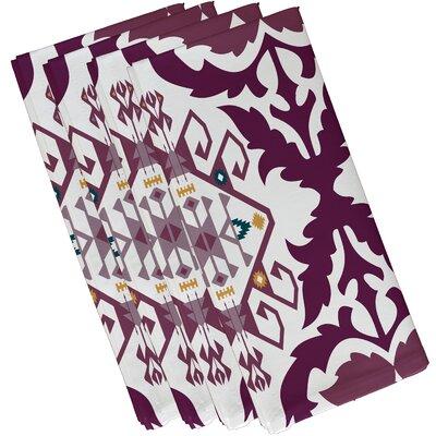 Oliver Bombay Medallion Geometric Print Napkin Color: Purple