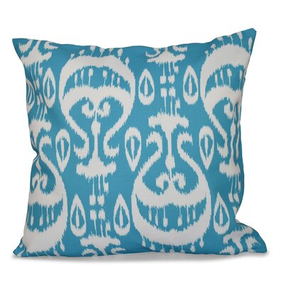 Sabrina Ikat Geometric Outdoor Throw Pillow Size: 18 H x 18 W, Color: Turquoise