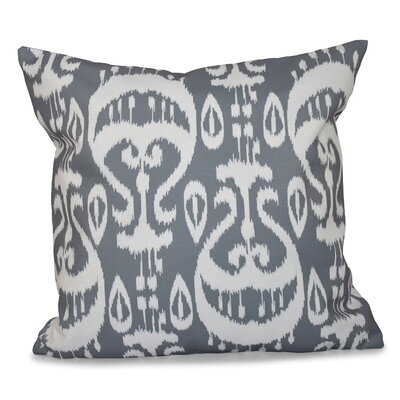 Sabrina Ikat Geometric Outdoor Throw Pillow Color: Gray, Size: 18