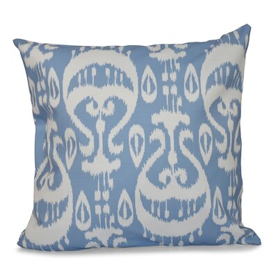 Sabrina Ikat Geometric Outdoor Throw Pillow Size: 18 H x 18 W, Color: Blue