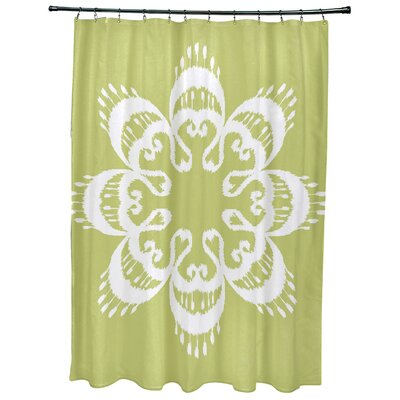 Oliver Ikat Mandala Geometric Print Shower Curtain Color: Green