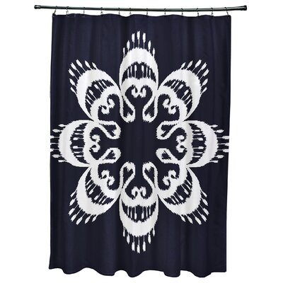 Oliver Ikat Mandala Geometric Print Shower Curtain Color: Navy Blue