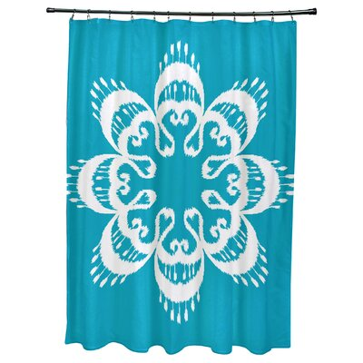 Oliver Ikat Mandala Geometric Print Shower Curtain Color: Turquoise