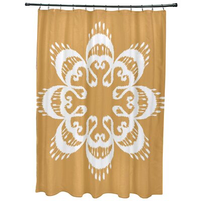 Oliver Ikat Mandala Geometric Print Shower Curtain Color: Gold