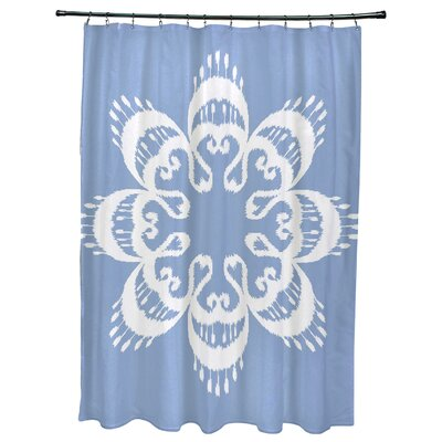 Oliver Ikat Mandala Geometric Print Shower Curtain Color: Blue