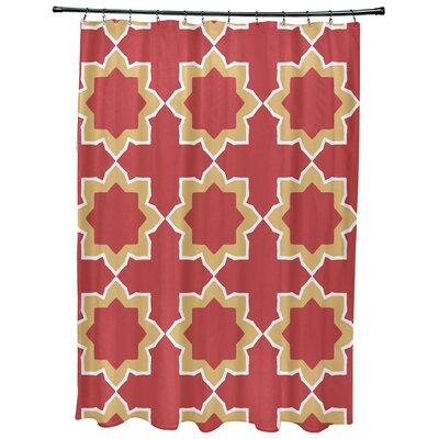 Meetinghouse Bohemian 2 Geometric Print Shower Curtain Color: Coral