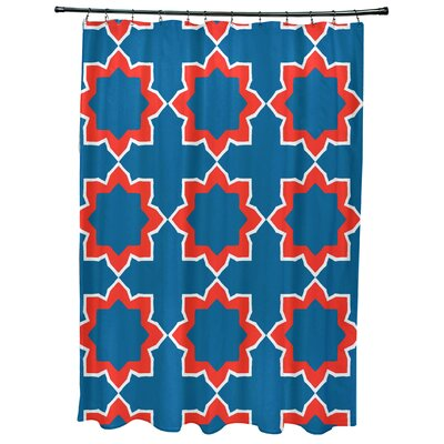 Oliver Bohemian 2 Geometric Print Shower Curtain Color: Blue