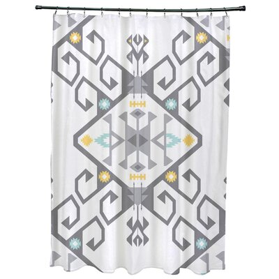Oliver Jodhpur Medallion 2 Geometric Print Shower Curtain Color: Gray