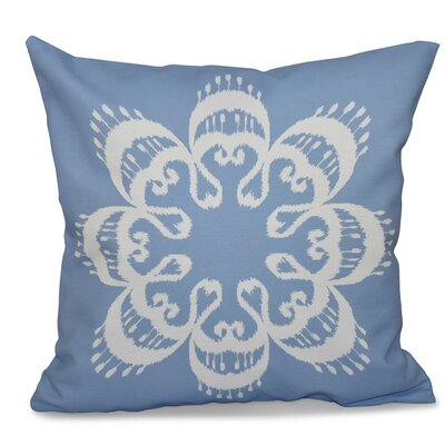 Oliver Ikat Mandala Geometric Print Throw Pillow Size: 18 H x 18 W, Color: Blue