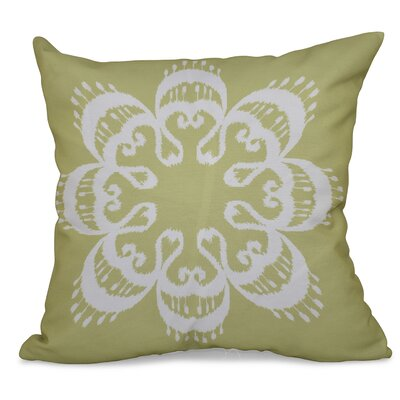 Oliver Ikat Mandala Geometric Print Throw Pillow Size: 26 H x 26 W, Color: Green