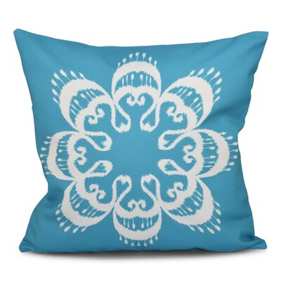 Oliver Ikat Mandala Geometric Print Throw Pillow Size: 26 H x 26 W, Color: Turquoise
