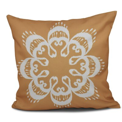 Oliver Ikat Mandala Geometric Print Throw Pillow Size: 26 H x 26 W, Color: Gold
