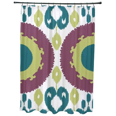 Oliver Boho Geometric Print Shower Curtain Color: Purple