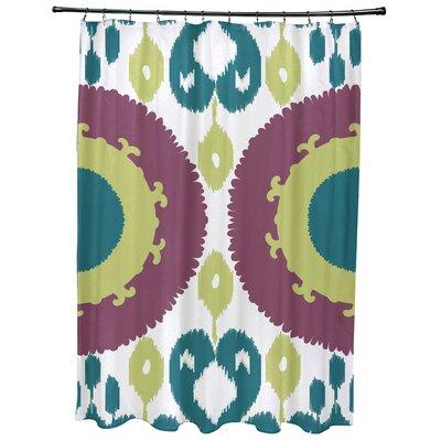 Meetinghouse Boho Geometric Print Shower Curtain Color: Purple
