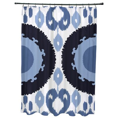Oliver Boho Geometric Print Shower Curtain Color: Navy Blue
