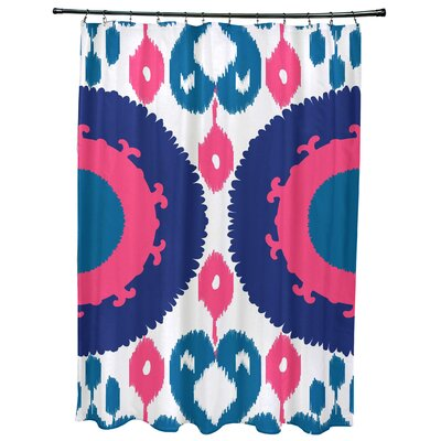 Oliver Boho Geometric Print Shower Curtain Color: Blue