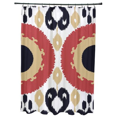 Meetinghouse Boho Geometric Print Shower Curtain Color: Coral