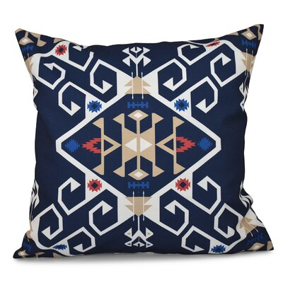 Oliver Jodhpur Medallion Geometric Print Throw Pillow Size: 26 H x 26 W, Color: Navy Blue