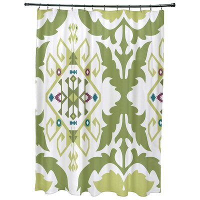 Oliver Bombay Medallion Geometric Print Shower Curtain Color: Green