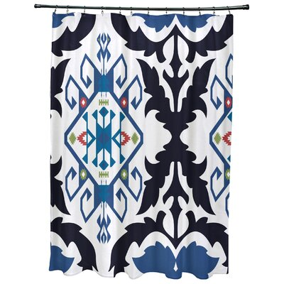 Oliver Bombay Medallion Geometric Print Shower Curtain Color: Navy Blue