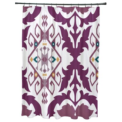 Oliver Bombay Medallion Geometric Print Shower Curtain Color: Purple
