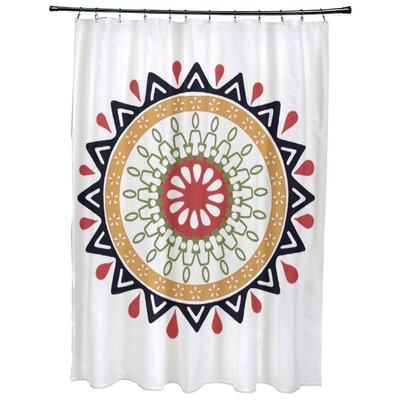 Meetinghouse Mod Geometric Print Shower Curtain Color: Navy Blue