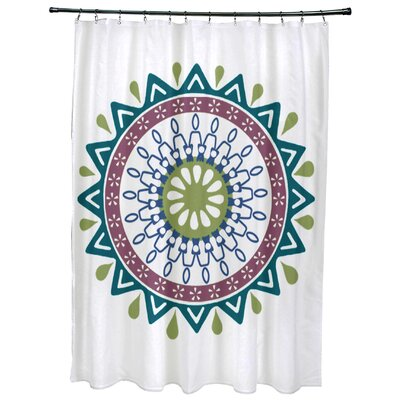 Meetinghouse Mod Geometric Print Shower Curtain Color: Teal