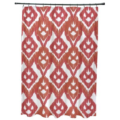 Oliver Hipster Geometric Print Shower Curtain Color: Coral