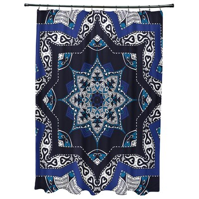 Oliver Shawl Geometric Print Shower Curtain Color: Navy Blue