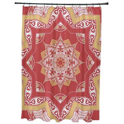 Oliver Shawl Geometric Print Shower Curtain Color: Coral
