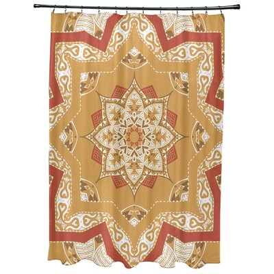 Oliver Shawl Geometric Print Shower Curtain Color: Gold