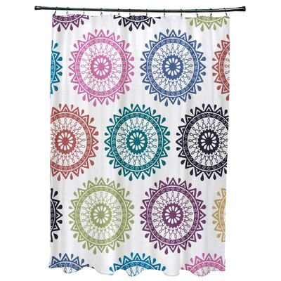 Oliver Groovy Geometric Print Shower Curtain Color: Dark Teal