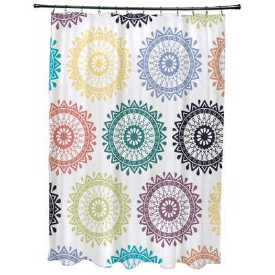 Oliver Groovy Geometric Print Shower Curtain Color: Light Teal