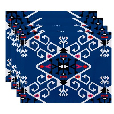Oliver Jodhpur Medallion Geometric Print Placemat Color: Blue