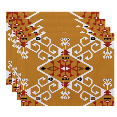 Oliver Jodhpur Medallion Geometric Print Placemat Color: Gold