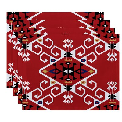 Oliver Jodhpur Medallion Geometric Print Placemat Color: Coral