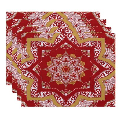 Oliver Shawl Geometric Print Placemat Color: Coral