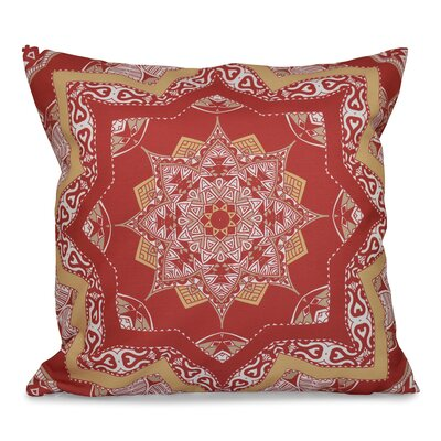 Oliver Shawl Geometric Print Throw Pillow Size: 16 H x 16 W, Color: Coral