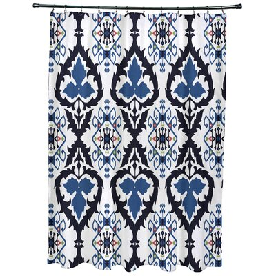 Oliver Bombay Geometric Print Shower Curtain Color: Navy Blue