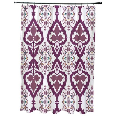 Oliver Bombay Geometric Print Shower Curtain Color: Purple