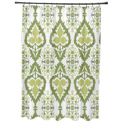 Oliver Bombay Geometric Print Shower Curtain Color: Green