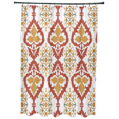 Meetinghouse Bombay Geometric Print Shower Curtain Color: Coral