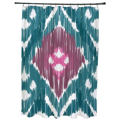 Oliver Original Geometric Print Shower Curtain Color: Teal