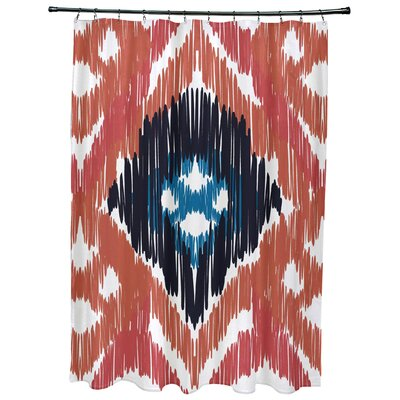 Meetinghouse Original Geometric Print Shower Curtain Color: Coral