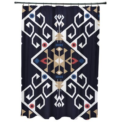 Oliver Jodhpur Medallion Geometric Print Shower Curtain Color: Navy Blue