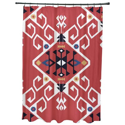 Oliver Jodhpur Medallion Geometric Print Shower Curtain Color: Coral