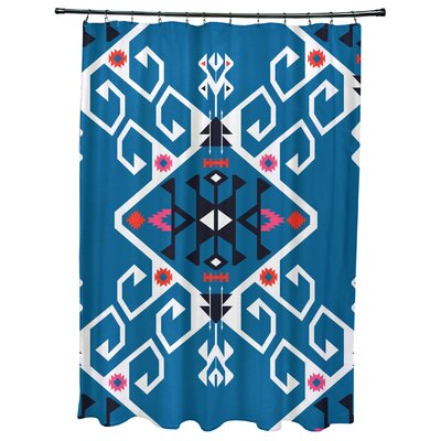 Oliver Jodhpur Medallion Geometric Print Shower Curtain Color: Blue